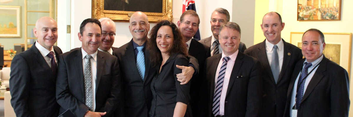 Attendees left to right: Bernie Ripoll MP, Glenn Sterle MP, Michael Danby MP, Eytan Aharoni, Nurit Aharoni, Speaker of the House Mr Peter Slipper MP, Mark Dreyfus MP, Joel Fitzgibbon MP, Stuart Robert MP, Israeli Ambassador Mr Yuval Rotem