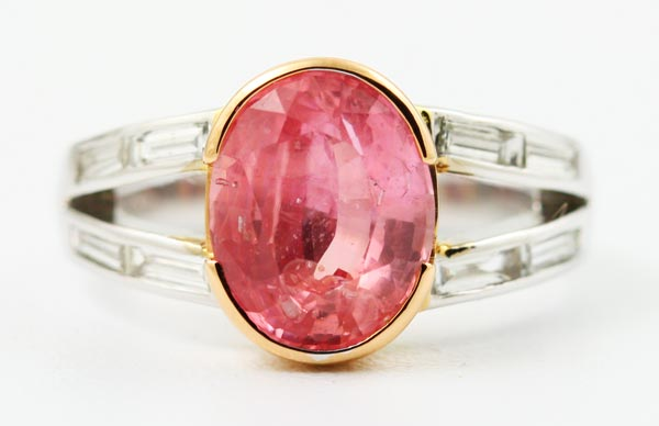 18K WHITE AND ROSE GOLD, PADPARADSCHA AND DIAMOND RING