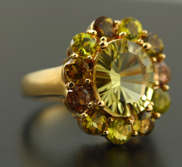 9K YELLOW GOLD LEMON CITRINE AND TOURMALINE RING