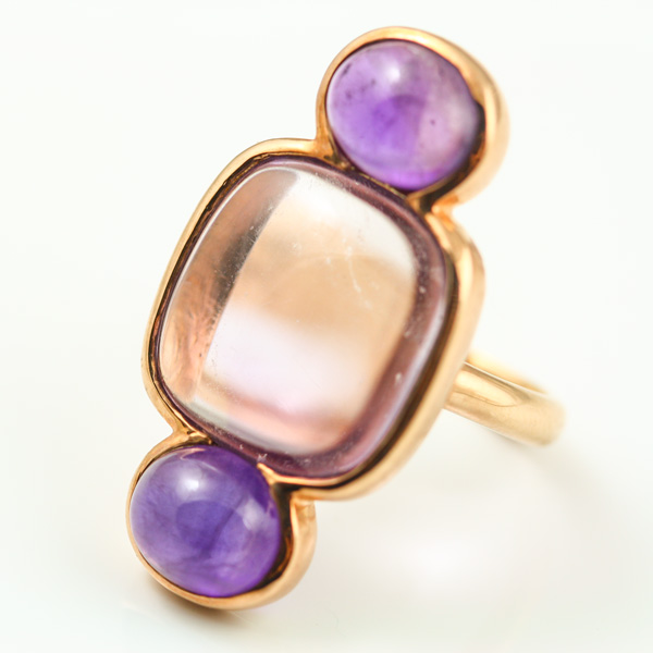 9K ROSE GOLD AND AMETHYST RING