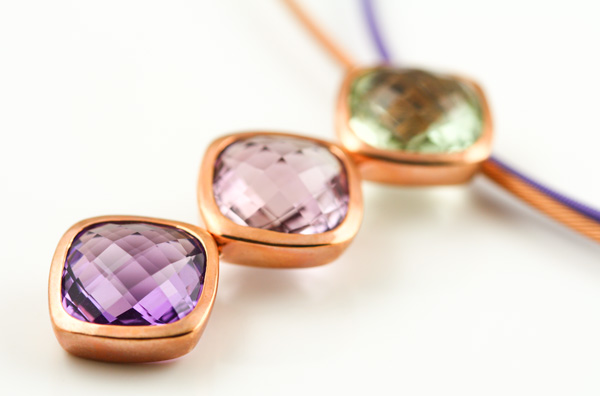9K ROSE GOLD GREEN, PINK AND PURPLE AMETHYST PENDANT