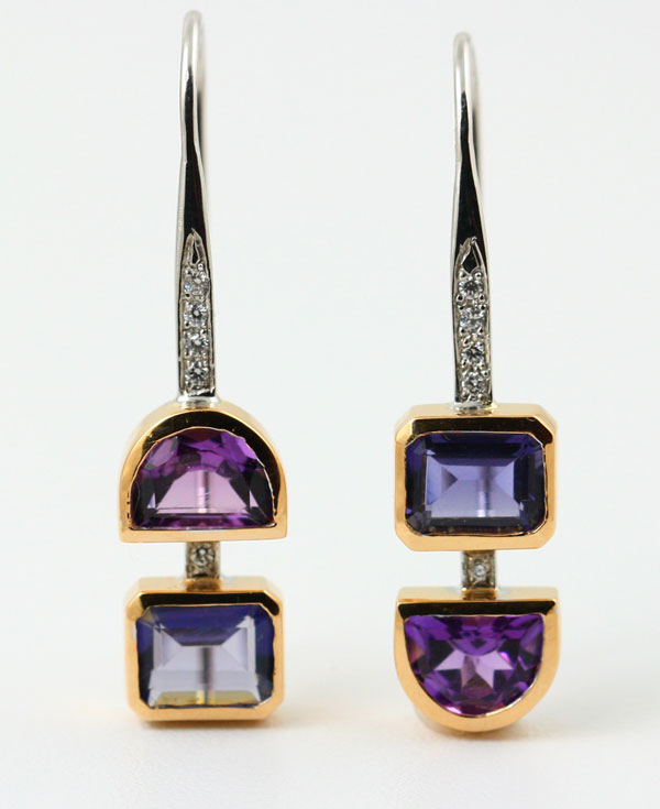 18K WHITE AND ROSE GOLD, IOLITE, AMETHYST AND DIAMOND EARRINGS