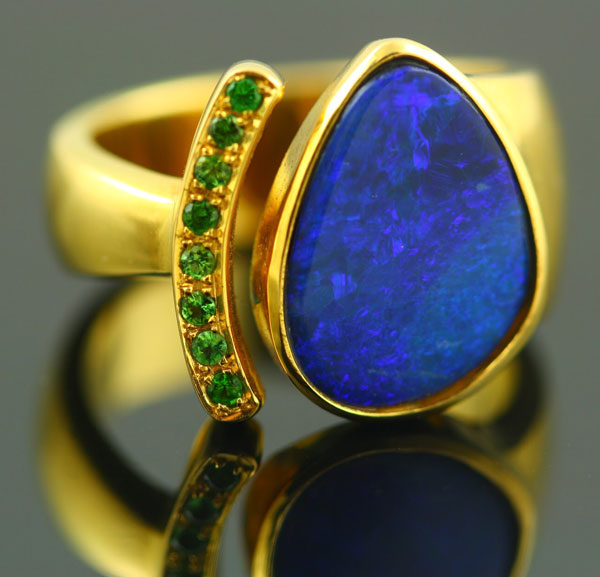 18K YELLOW GOLD, BOULDER OPAL AND TSAVORITES RING