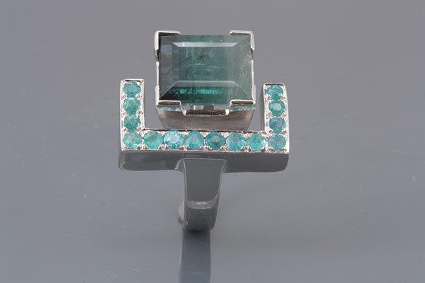 18K WHITE GOLD AND TOURMALINES