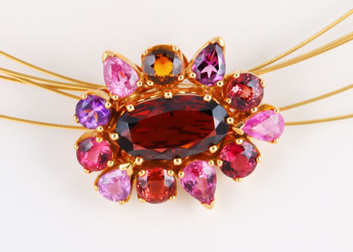 18K ROSE GOLD, GARNET, AMETHYST AND TOURMALINE PENDANT