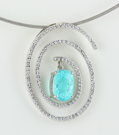 18K WHITE GOLD, PARAIBA AND DIAMOND PENDANT