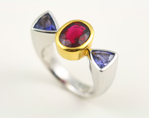 18K WHITE AND ROSE GOLD, RUBELLITE TOURMALINE AND IOLITE RING