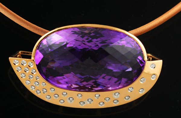 18K ROSE GOLD, LARGE AMETHYST AND DIAMOND PENDANT